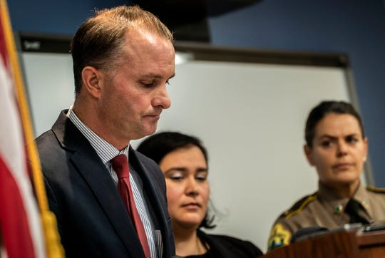 Vermont Attorney General T. J. Donovan announces that Burlington Police Officer Cory Campbell will not be charged with any crime in connection with a March altercation with Douglas Kilburn at UVM Medical Center. During a news conference in Burlington on Friday, Nov. 8, 2019, Donovan did state that when Officer Campbell swore at Killburn, that unprofessional behavior escalated the situation which led to the officer striking Kilburn several times in the head. Killburn was found dead days later.