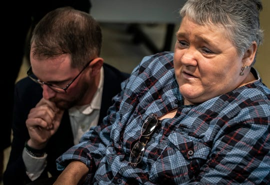 Douglas Kilburn's widow Sherry weeps as she talks with media following an announcement by Vermont Attorney General T. J. Donovan that Burlington Police Officer Cory Campbell will not be charged with any crime in connection with an altercation with Kilburn at UVM Medical Center in March. During a news conference in Burlington on Friday, Nov. 8, 2019, Donovan did state that when Officer Campbell swore at Killburn, that unprofessional behavior escalated the situation which led to the officer striking Kilburn several times in the head. Killburn was found dead days later.