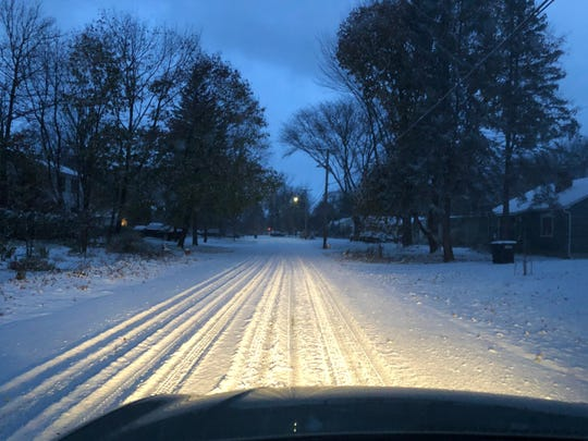 Morning commuters in the Burlington area woke up to snow-covered roads Friday morning, Nov. 8, 2019.