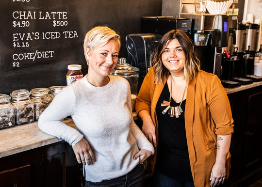 Both with educational backgrounds, Meg VanBuskirk, left, and Anna Purpero came up with the idea for a local small business named Paper City Coffee to help support and maintain the Paper City Mentoring Project to help guide local students affected by addiction and poverty.