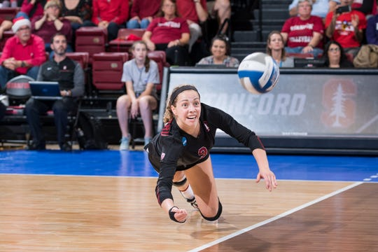 STANFORD, CA -- December 9, 2017.  Stanford Cardinal women's volleyball sweeps the Texas Longhorns 3-0 at Maples Pavilion in the NCAA Regional tournament.