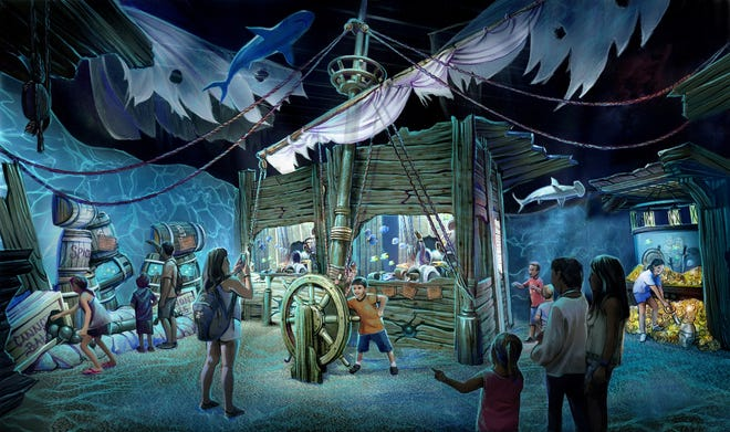 A rendering of the captain's quarters tank in the Newport Aquarium's new Shipwreck: Realm of the Eels exhibit opening in Spring 2020.
