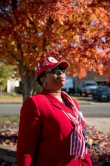 Antoinette 'Toni' Smalls, the recorder and partner in crime for her neighbor and Commander of the Women's Veterans of America nationally, poses for a portrait outside at the Smalls residence in Clarksville, Tenn., on Friday, Nov. 8, 2019.