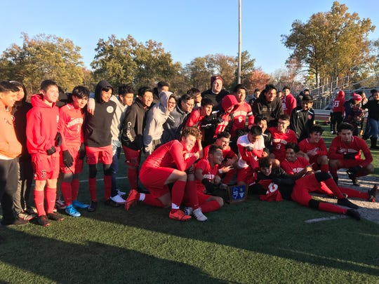 The No. 4 Bound Brook boys soccer team won its first Central Group I sectional title since 2004 with a 6-1 victory over No. 6 South Hunterdon on Friday, Nov. 8, 2019.