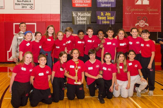 Each event of the competition had three team winners.  The overall school team winners were: First Place: St. Francis Cathedral of Metuchen; Second Place: St. John Vianney of Colonia; and Third Place: St. Matthias of Somerset.
