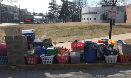 A photo of Julie Schwertley's classroom supplies on the curb outside King Elementary on Des Moines' north side.