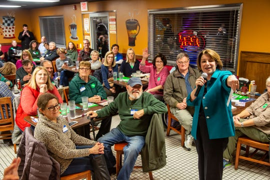 Presidential candidate U.S. Sen. Amy Klobuchar, D-MN. speaks to democrats gathered at Cozy Cafe in Johnston Thursday, Nov. 7, 2019.