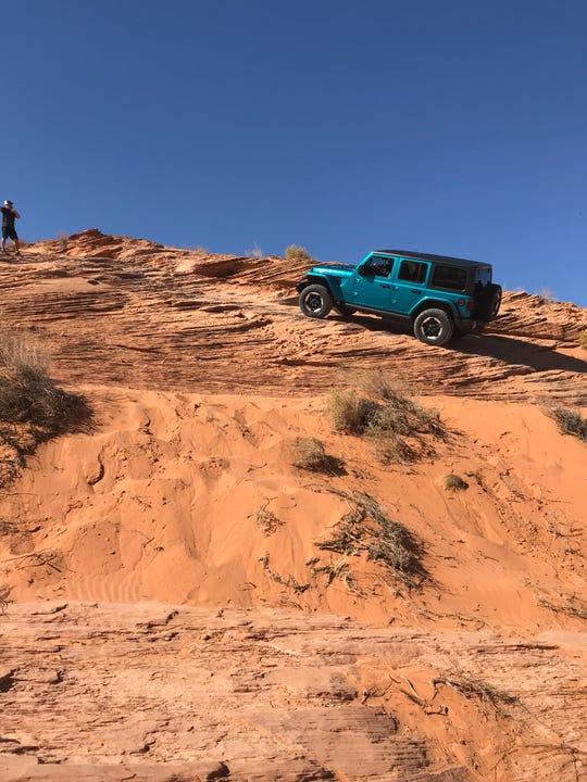 2020 Jeep Wrangler Ecodiesel rock-climbing in Utah.