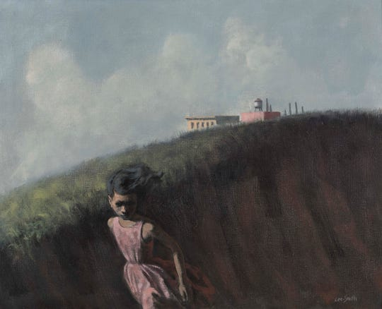 """Girl Fleeing"" a 1959 oil on canvas by Hughie Lee-Smith, is part of the ""Detroit Collects: Selections of African-American Art from Private Collections"" exhibit at the Detroit Institute of Arts. It is part of the collection of Jerome Watson and Deborah Geraldine Bledsoe Ford."