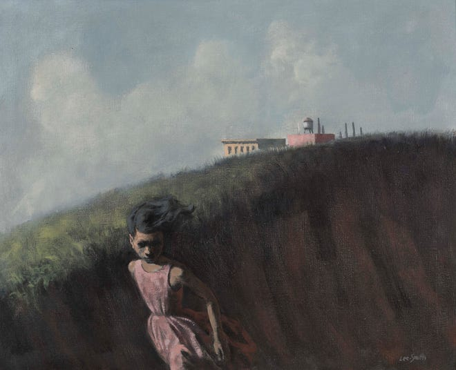 """""""Girl Fleeing"""" a 1959 oil on canvas by Hughie Lee-Smith, is part of the """"Detroit Collects: Selections of African-American Art from Private Collections"""" exhibit at the Detroit Institute of Arts. It is part of the collection of Jerome Watson and Deborah Geraldine Bledsoe Ford."""