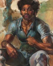 """The Hero,"" a 1960 oil on masonite by Leroy Foster, is part of the ""Detroit Collects: Selections of African-American Art from Private Collections"" exhibit at the Detroit Institute of Arts. It is part of the collection of Dr. Darnell and Shirley A. Kaigler."