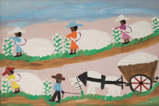 """Picking Cotton,"" a 1968 oil painting by Clementine Hunter, is part of the ""Detroit Collects: Selections of African-American Art from Private Collections"" exhibit at the Detroit Institute of Arts. It is part of the Joann and Harold Braggs Collection."