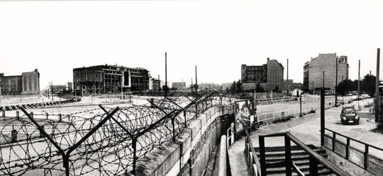 Panoramic view of Berlin Wall: Left - East Berlin Right - West Berlin