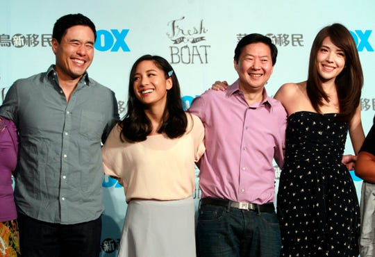 "In this Aug. 5, 2016 file photo, Randall Park, from left, Constance Wu, Ken Jeong and Ann Hsu pose for photographers during a media event announcing their comedy series ""Fresh off the Boat"" in Taipei, Taiwan. ABC's ""Fresh off the Boat."""