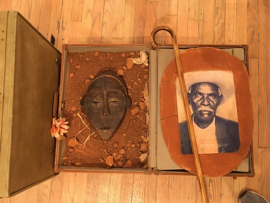 """A detail from Victor L. Ewing-Givens' expansive memory-box installation, """"Vestige,"""" at Carr Center Contemporary in the Park Shelton apartment building."""
