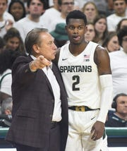 MSU coach Tom Izzo, left, said he isn't concerned about Rocket Watts' shot after he went 0-for-4 against Kentucky.