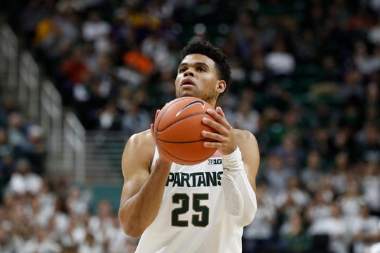 Michigan State forward Malik Hall finished with three rebounds, three fouls, an assist and a steal in nine minutes in his regular-season debut.