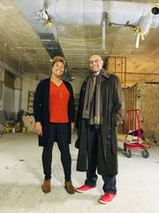 Carr Center Curator and Senior Creative Director Erin Falker-Obichigha (left) and President Oliver Ragsdale Jr. in what will become the center's new performance space in the Park Shelton apartment building.