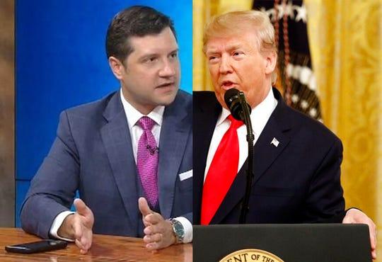 Ukraine whistle-blower attorney Andrew Bakaj, left, and President Donald J. Trump.