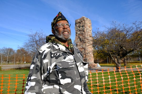 Air Force veteran Richard Chatman, 70, talks in front of the dismantled Michigan War Veterans Memorial in Detroit on Nov. 8, 2019.