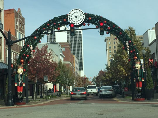 The Main Street arch in Downtown Evansville is spruced up for the holiday season.