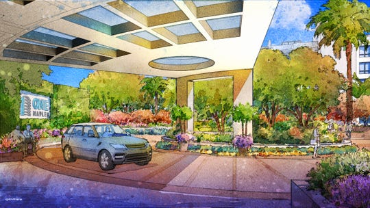 This rendering offers a view of the porte cochere for One Naples.