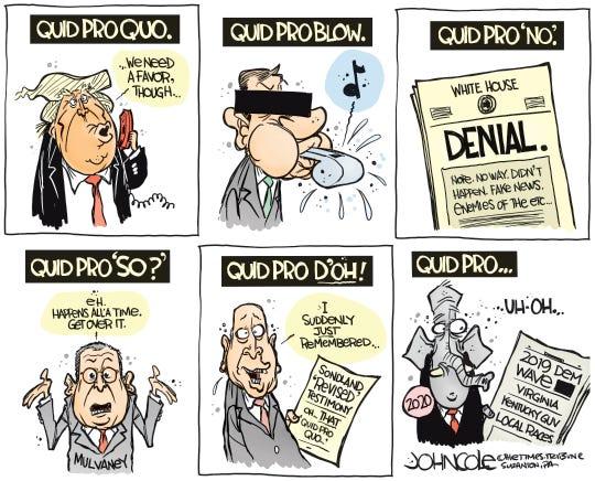 Quid pro quo. No. So. D'Oh!