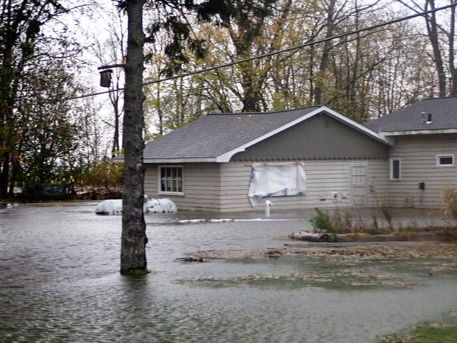Frances Frye took this picture of her property in the 7900 block of County Y in Oconto County on Oct. 21, when high winds drove water from Green Bay and flooded her cottage and property.