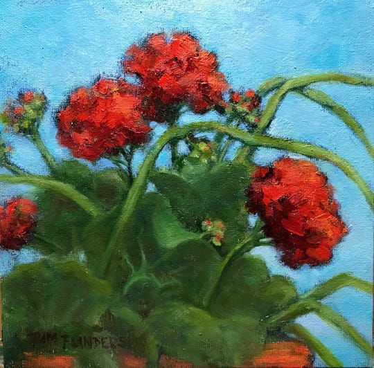 """Pam Flanders, the painter of this piece called """"Catching Some Rays,"""" is one of 25 artists participating in the Sturgeon Bay Art Crawl Nov. 22-24."""