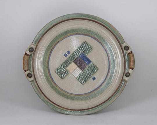 """Linda Sheard, creator of this ceramic piece titled """"Geometrics in Green,"""" is one of 25 artists participating in the Sturgeon Bay Art Crawl Nov. 22-24."""