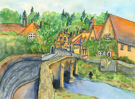 Visitors will be able to view art works like this ink-and-watercolor painting by Kerry Vavra as well as learn more about the works and their artists during the Sturgeon Bay Art Crawl Nov. 22-24.