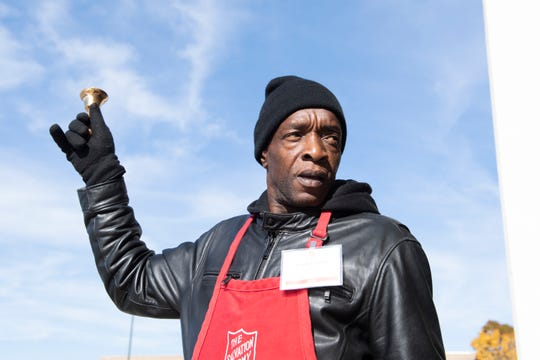Bradley Smith rings a bell outside Haywood Mall Friday, November 8, 2019 as part of the Salvation Army's Red Kettle Campaign.