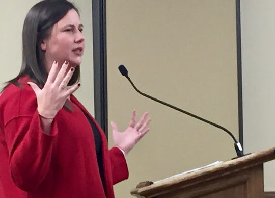 Melanie Hall, commissioner of the Montana Division of Banking and Financial Institutions, speaks Thursday to a state panel.