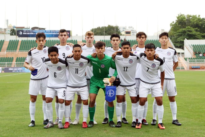 Guam's starting 11 players against Japan opening day of the AFC U19 Championship Qualifier Group J in Ho Chi Minh City, Vietnam, on Wednesday. Front, from left: Anthony Quidachay, Matt Iseke, Alexander Stenson, Micah Hennegan and Kris Fernandez. Back, from left: Graysen Garber, Jacob McDonald, Ethan Elwell, Taiga Simon, Morgan McKenna, and Kyle Halehale.