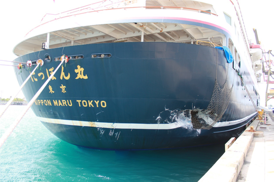 Damage to the Nippon Maru in a December 2018 accident.