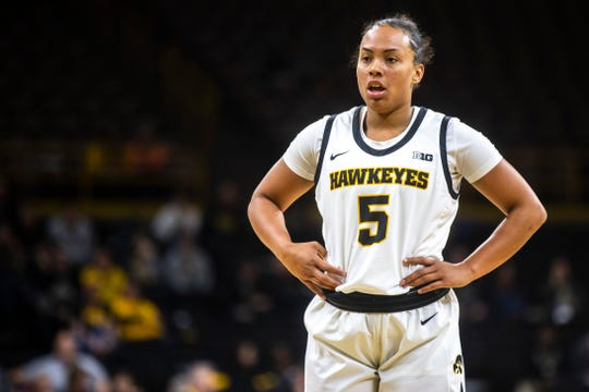 Iowa guard Alexis Sevillian (5) gets ready to shoot a free throw during an NCAA non-conference women's basketball game, Thursday, Nov., 7, 2019, at Carver-Hawkeye Arena in Iowa City, Iowa.
