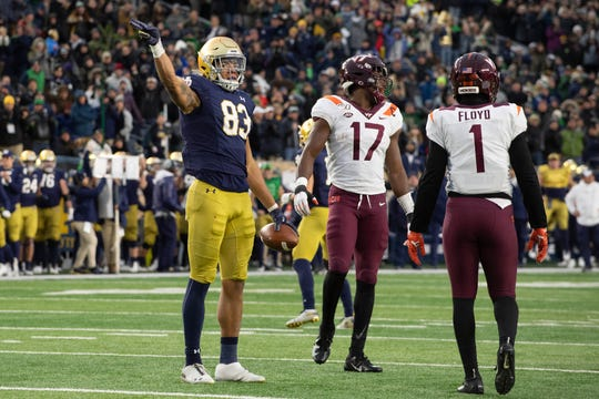 Fighting Irish wide receiver Chase Claypool (83) gestures after catching a pass for a first down on a fourth-down play in the fourth quarter against Virginia Tech.