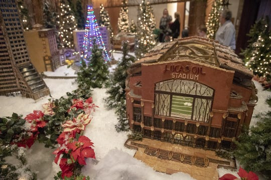 Lucas Oil Stadium, shown in model form at Jingle Rails, a G-scale model train exhibit at the Eiteljorg Museum, Indianapolis, Sunday, Dec. 23, 2018.