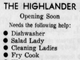 From 1967: An advertisement seeks dishwashers, salad ladies, fry cooks, and more.