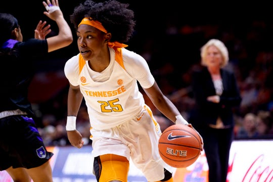 Tennessee guard Jordan Horston (25) dribbles the ball during a game between Tennessee and Central Arkansas at Thompson-Boling Arena in Knoxville, Tenn. on Thursday, Nov. 7, 2019.