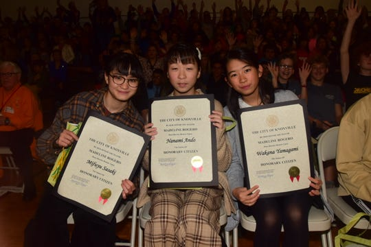 Mifuyu Sasaki, Nanami Ando and Wakana Yamagami all seem proud to have been given honorary citizenship at a welcoming assembly held at Cedar Bluff Middle School Thursday, Oct. 31.
