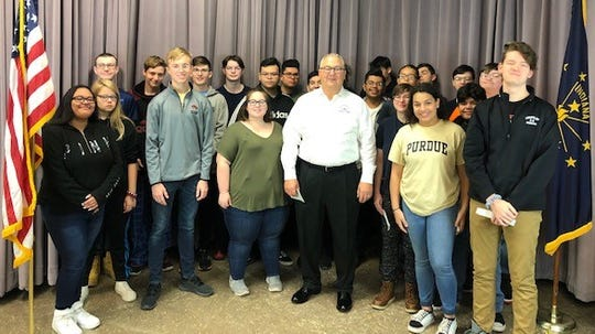 The military history class at Jefferson High School presented Greg Myszkowski of the Honor Flight with a check Friday morning for $1,589. This is enough to sponsor two veterans for the May 12 flight to Washington, D.C.