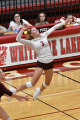 Charyl Stockwell's Paige Gallentine had 21 kills and eight digs against Whitmore Lake on Thursday, Nov. 7, 2019.