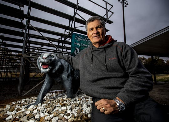Holy Cross head football coach Bob Bronger posed for a photo after practice on Thursday, November 7, 2019. After more than four decades in coaching, Coach Bronger will retire after this season.