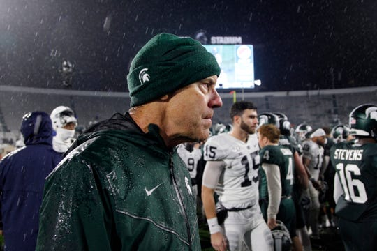 Michigan State coach Mark Dantonio reacts following an NCAA college football game against Penn State, Saturday, Oct. 26, 2019, in East Lansing, Mich. (AP Photo/Al Goldis)