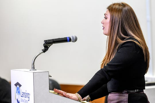 Grewal Law attorney Kelly McClintock speaks about acting superintendent Mark Coscarella's allegations during a Lansing School District Board of Education meeting on Thursday, Nov. 7, 2019, at the Shirley M. Rodgers Administration Building in Lansing. The meeting was the first after sexual harassment allegations came out against Coscarella.