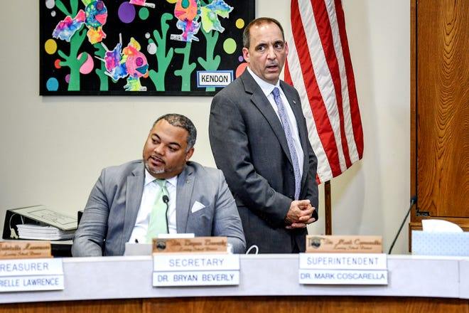 Deputy Superintendent Mark Coscarella, right, resigned Thursday after an investigator found evidence supporting a 20-year-old sexual harassment allegation against him.