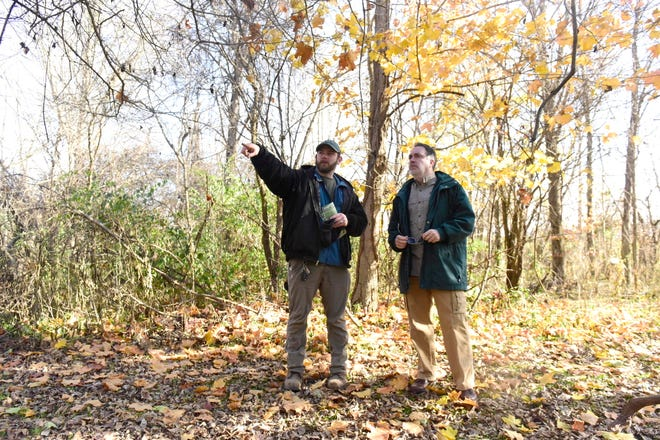 Kyle Bailey, left, director of natural resources for the Richland County Park District, shows off a few features of the Shelby Black Fork Wetlands to his boss, Jason Larson.