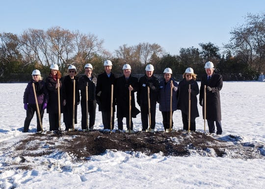 A groundbreaking ceremony for Waukesha State Bank's Menomonee Falls office took place Nov. 7. Pictured are (from left)  Marynell Costa, Waukesha State Bank senior vice president - construction consultant (retired); Ann Pascavis, Waukesha State Bank CFO; Pat Witkowiak, Waukesha State Bank vice president – operations manager; Matt Carran, village of Menomonee Falls director of community development; Ty Taylor, Waukesha State Bank president and CEO; Fred Stier, Stier Construction president; Jerry Wick, Menomonee Falls Chamber of Commerce president; Toni Gumina, Menomonee Falls Chamber of Commerce executive director; State Rep. Janel Brandtjen, Wisconsin State Senate District 22; and Dan Shepard, Waukesha State Bank executive vice president. The bank is slated to open at the end of the summer in 2020.