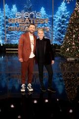 "Justin Timberlake, left, helps out Ellen DeGeneres on ""Ellen's Greatest Night of Giveaways."""